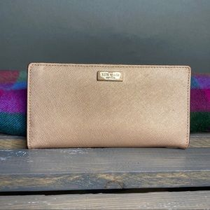 Rose Gold Kate Spade Double Fold Wallet